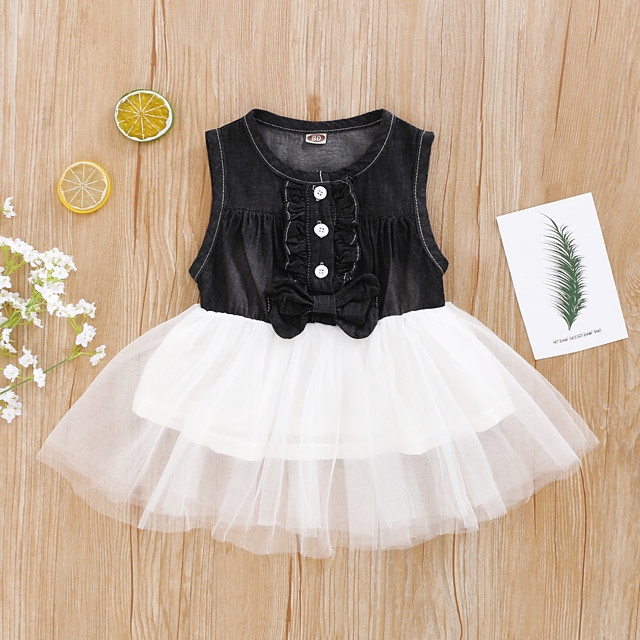 Toddler Girls' Clothing Set Daily Wear Solid Colored Print Sleeveless Active Regular Above Knee Black 2-8 Years