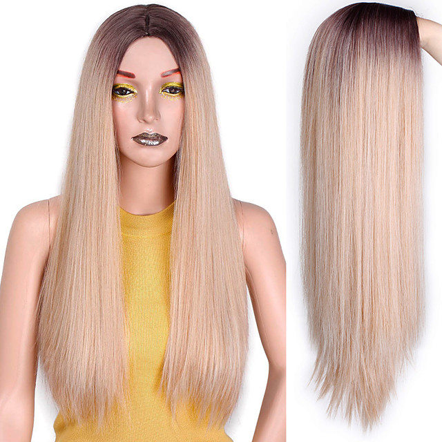 Long Straight Synthetic Wig Mixed Brown and Blonde Long Wigs for White /Black Women Middle Part Nature Wigs