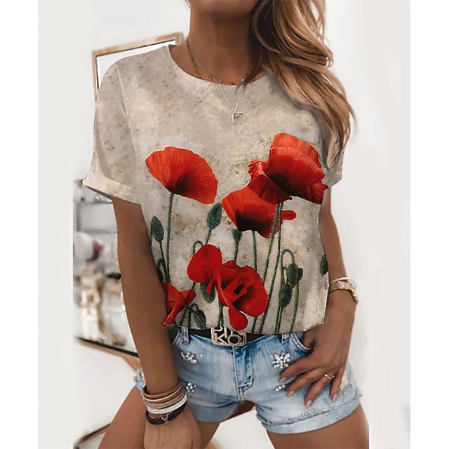Women's T shirt Graphic Floral Print Round Neck Tops Basic Basic Top Purple Red Blushing Pink