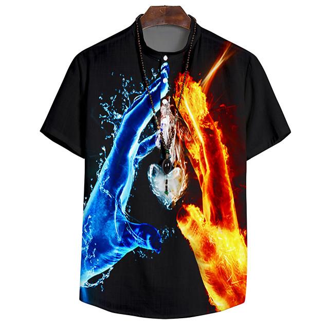 Shirt Men's Lightning 3D Print Button-Down 3D Print Casual Short Sleeve Tops Casual Fashion Breathable Comfortable Black