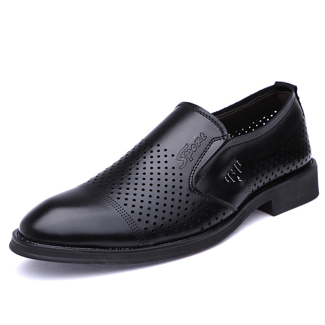 Men's Loafers & Slip-Ons Business Classic British Daily Office & Career Faux Leather Breathable Non-slipping Wear Proof Black Brown Spring Summer