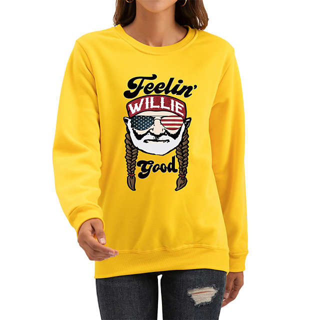 Women's Pullover Sweatshirt Graphic Print Daily Casual Hoodies Sweatshirts  White Black Red