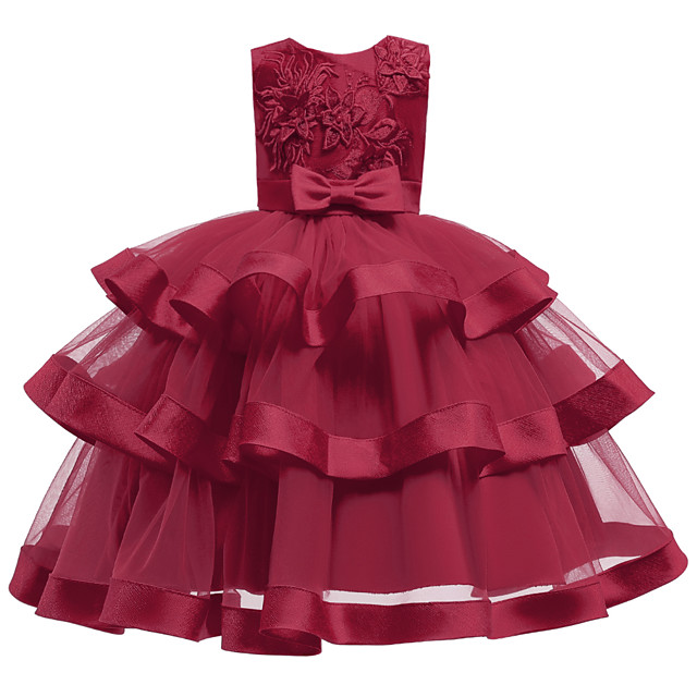 Kids Little Girls' Dress Jacquard Solid Colored Flower Party Birthday Party Layered Pleated Mesh Blue Blushing Pink As Picture Above Knee Sleeveless Flower Cute Dresses Children's Day Slim 3-12 Years