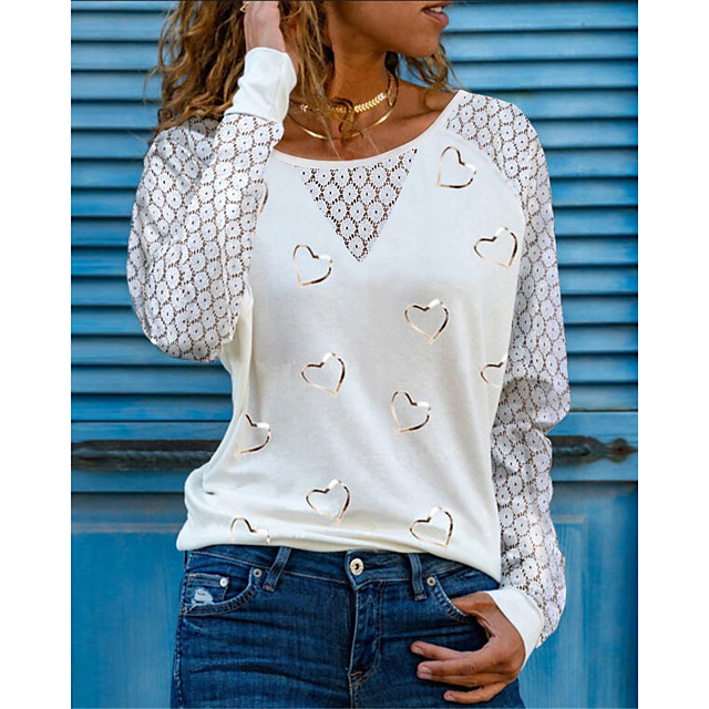 Women's T shirt Heart Long Sleeve Lace Round Neck Tops Basic Basic Top White