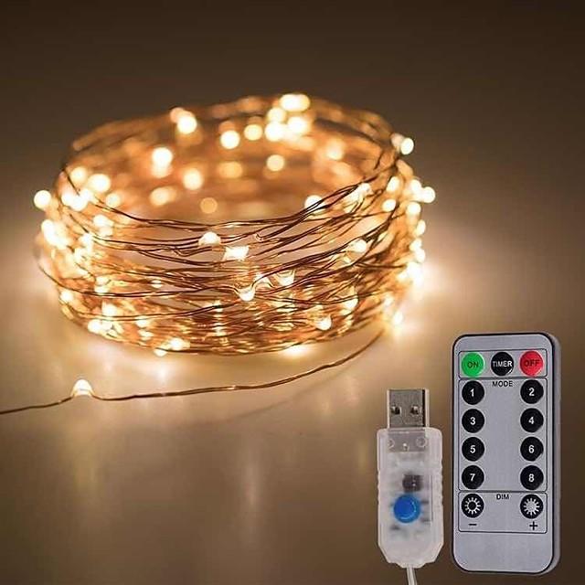10 m 20 m Fényfüzérek 100/200 LED 1 13Keys távirányító 1db Meleg fehér Hideg fehér Több színű Karácsony Újévi Parti Dekoratív Gépjárműbe 5 V