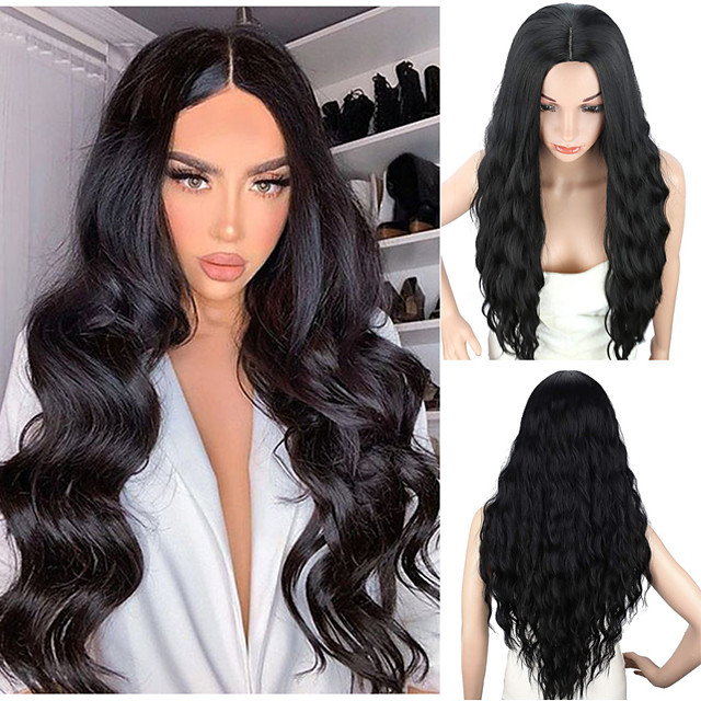 Women's Long Curly Hair Synthetic Wig Natural Black  Middle Part Wigs Heat Resistant Fiber 28 Inch