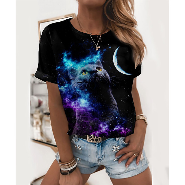 Women's T shirt Galaxy Cat Graphic Print Round Neck Tops Basic Basic Top Black