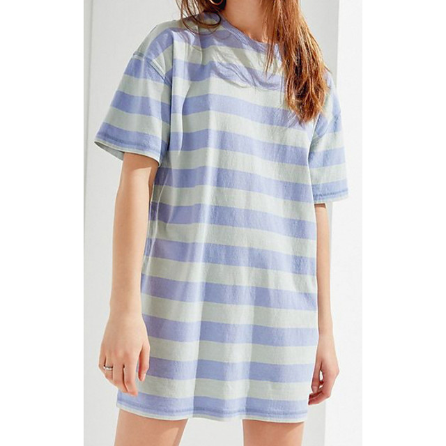 Women's T Shirt Dress Tee Dress Short Mini Dress Blue Short Sleeve Striped Print Summer Round Neck Casual 2021 M L XL XXL