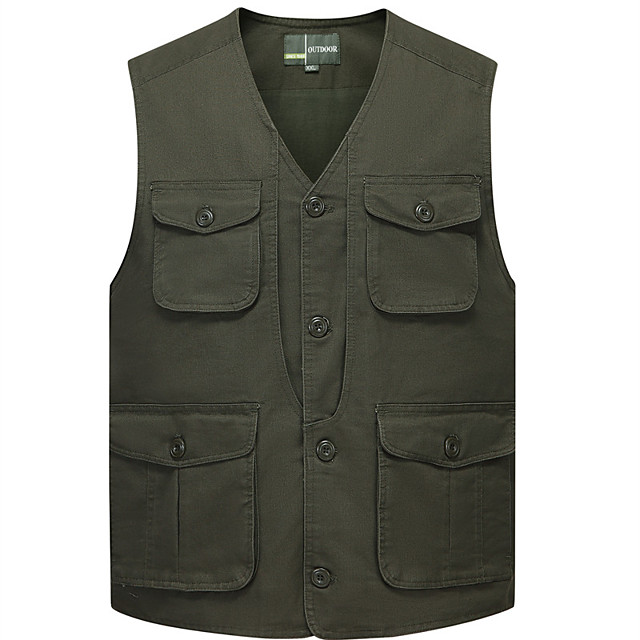 Men's Fishing Vest Outdoor Multi-Pockets Quick Dry Lightweight Breathable Vest / Gilet Autumn / Fall Spring Summer Fishing Photography Camping & Hiking Army Green Khaki / Cotton / Sleeveless