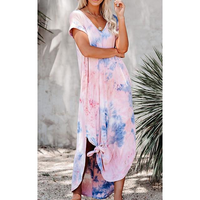 Women's Kaftan Dress Maxi long Dress Blushing Pink Short Sleeve Tie Dye Print Summer V Neck Casual 3D Print S M L XL