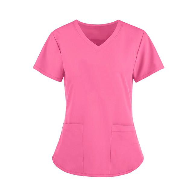 Women's T shirt Plain V Neck Tops Basic Basic Top White Blue Wine