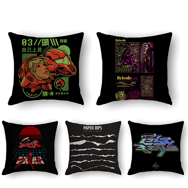 Cushion Cover 5PCS Linen Soft Print Square Throw Pillow Cover Cushion Case Pillowcase for Sofa Bedroom 45 x 45 cm (18 x 18 Inch) Superior Quality Mashine Washable