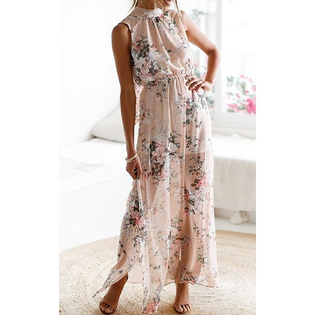 Women's Chiffon Dress Maxi long Dress Photo Color Sleeveless Floral Split Print Summer Round Neck Sexy 2021 S M L XL