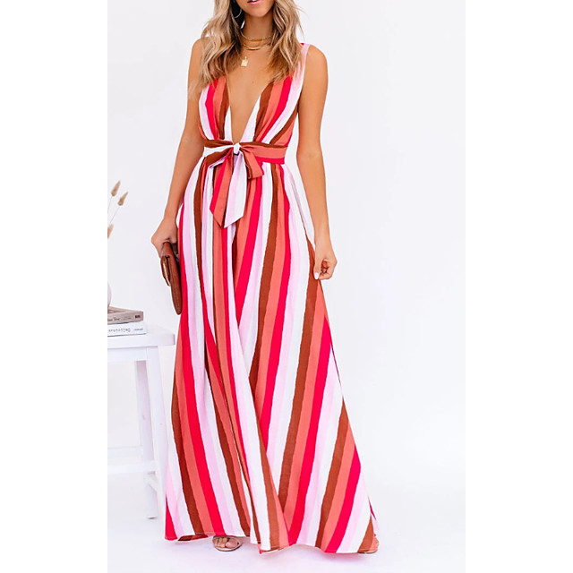 Women's Swing Dress Maxi long Dress Red Sleeveless Striped Print Summer V Neck Casual 2021 S M L XL