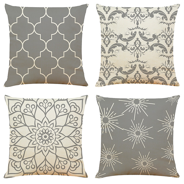 Cushion Cover 4PC Linen Soft Print Square Throw Pillow Cover Cushion Case Pillowcase for Sofa Bedroom 45 x 45 cm (18 x 18 Inch) Superior Quality Machine Washable