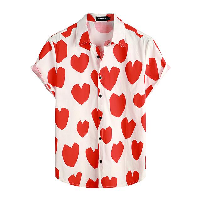 Shirt Men's Floral Daily Short Sleeve Tops Basic Boho 100% Cotton Red / White