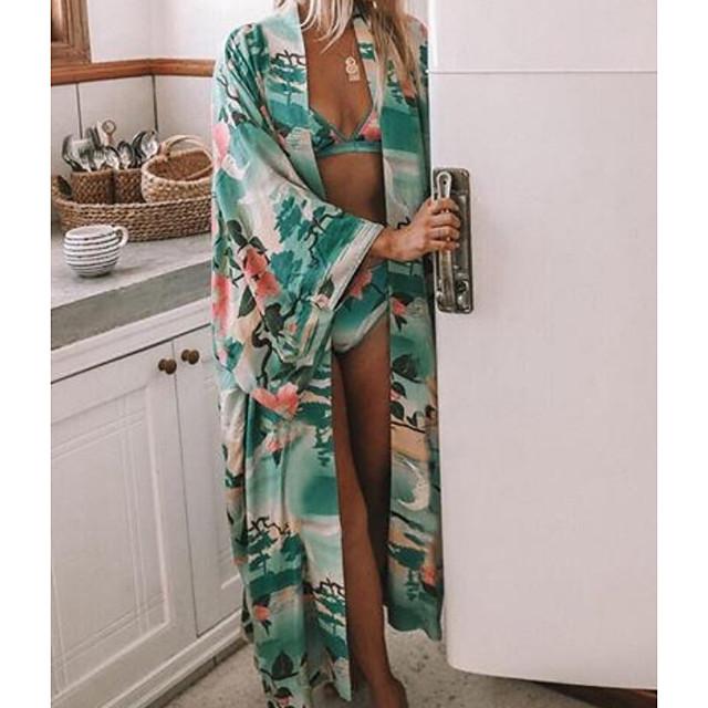 Women's Swimsuit Cover Up Swimsuit Chiffon Floral Green Swimwear T shirt Dress Tunic Plunge Bathing Suits New Fashion Sexy
