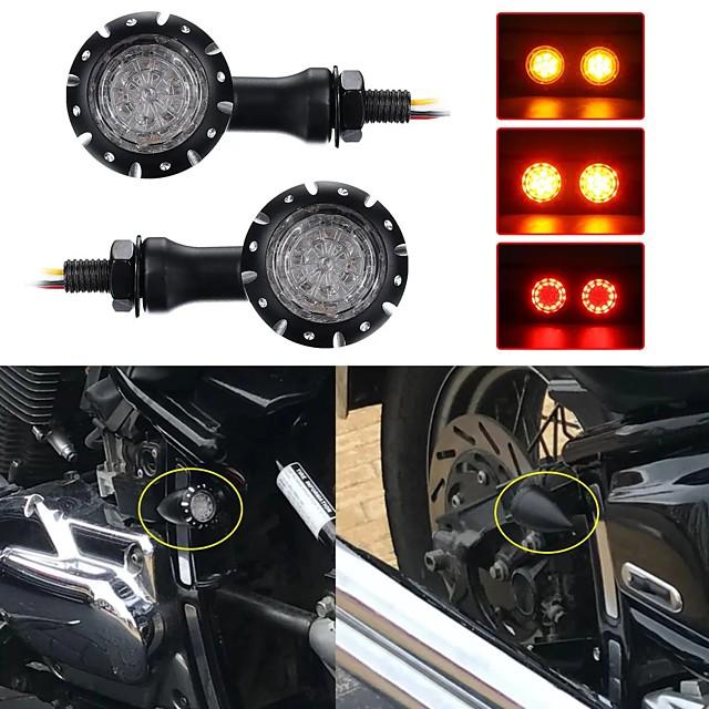 OTOLAMPARA High Quality DC 12V Motorcycle LED Turn Signals Brake Lights Indicator 20W Stop Light For Harley Chopper Motorcycle Black 2pcs
