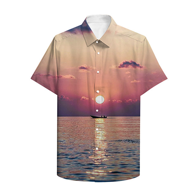 Men's Shirt 3D Print Graphic 3D Landscape Button-Down 3D Print Short Sleeve Casual Tops Casual Hawaiian Blushing Pink