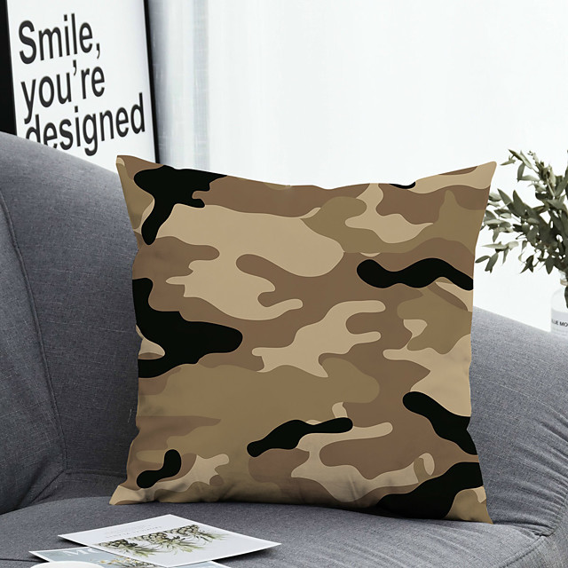 1 pcs Polyester Pillow Cover Pillow Cover & Insert, Geometric Simple Classic Square Zipper Polyester Traditional Classic