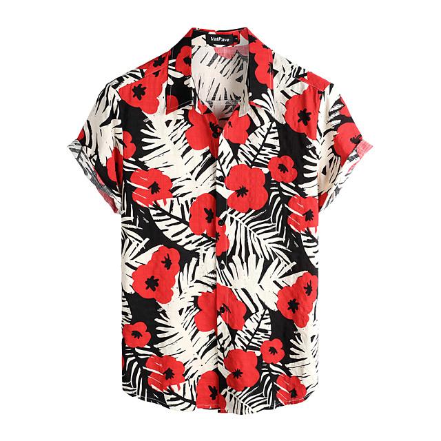 قميص رجالي ترايبال مناسب للبس اليومي كم قصير قمم أساسي بوهو قطن أسود / أحمر