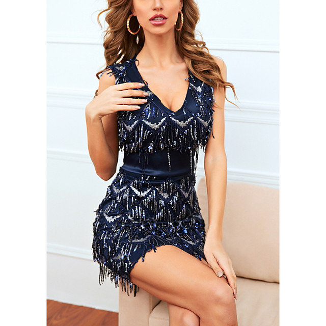 Women's A Line Dress Short Mini Dress Navy Blue Sleeveless Solid Color Color Block Summer V Neck Casual 2021 S M L XL