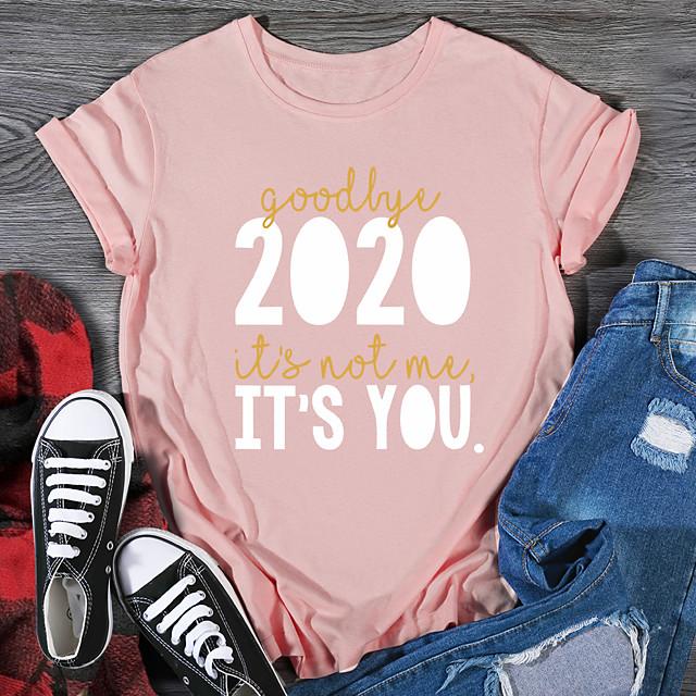 Women's T shirt Graphic Print Round Neck Tops 100% Cotton Basic Basic Top Black Purple Red