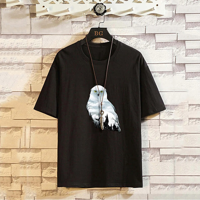 Men's Unisex T shirt Hot Stamping Graphic Prints Bird Animal Plus Size Print Short Sleeve Daily Tops 100% Cotton Fashion Vintage Classic Black