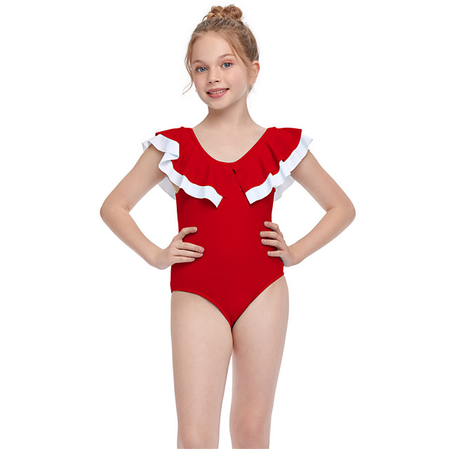 Kids Girls' Swimwear One Pieces Swimsuit Ruffle Swimwear Solid Colored Short Sleeves Red Active Bathing Suits