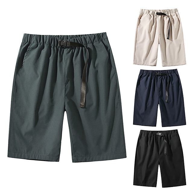 Men's Shorts Holiday Shorts Pants Simple Short Black Khaki Dark Gray Navy Blue