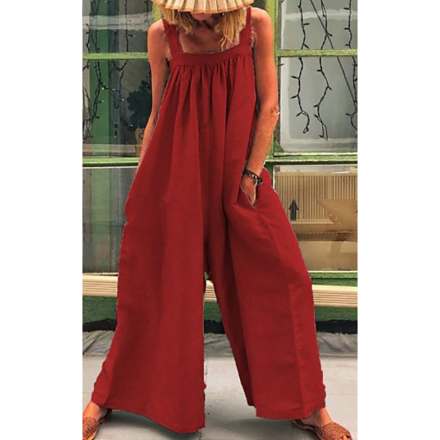 Women's Red Green Jumpsuit Solid Colored Print