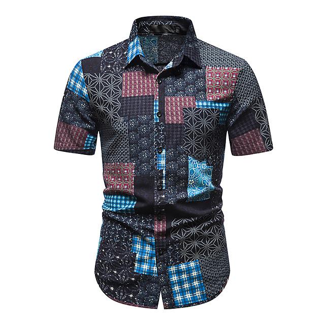 رجالي قميص مطبوعات أخرى مجرد كم قصير مناسب للبس اليومي قمم 100% قطن أزرق