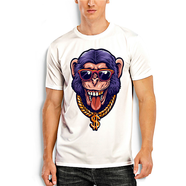 T shirt Men's Graphic Prints Animal 3D Print Print Daily Short Sleeve Tops Casual Designer Big and Tall White