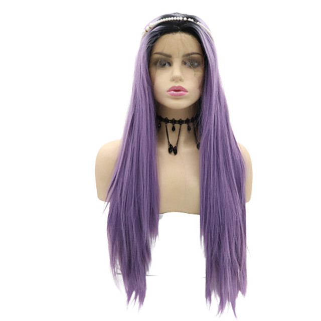 Cosplay Wig Natural Straight Layered Haircut Wig 24 inch Black / Purple Synthetic Hair 24 inch Women's Soft Party Ombre Hair Purple