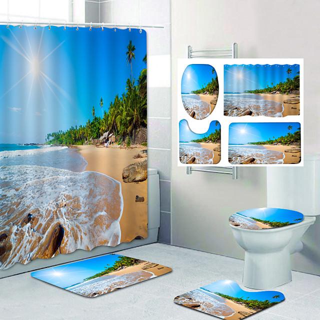 Bathroom Shower Curtain & Mat Set Classic Polyester Waterproof