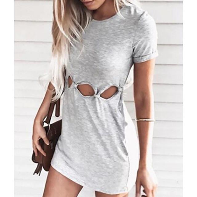 Women's Sports Dress Short Mini Dress Light Blue Pink Gray Short Sleeve Solid Color Hollow To Waist Fall Summer Round Neck Elegant Casual 2021 S M L XL