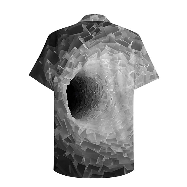 Men's Shirt 3D Print Graphic Prints Geometry Button-Down Print Short Sleeve Daily Tops Casual Designer Big and Tall Gray