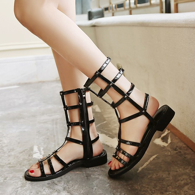 Women's Sandals Boho Bohemia Beach Roman Shoes Gladiator Sandals Chunky Heel Round Toe PU Synthetics Black Silver