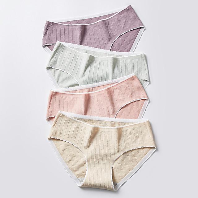 Women's 1 Piece Basic Brief - Normal Low Waist Yellow Blushing Pink Khaki M L XL