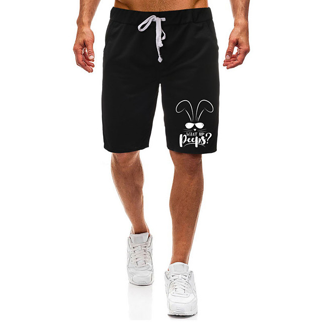 Men's Casual / Sporty Athleisure Daily Gym Shorts Pants Rabbit / Bunny Letter Short Pocket Elastic Drawstring Design Print Black Light Grey