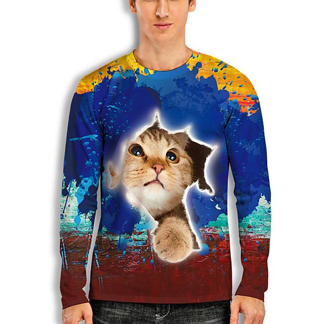 Men's T shirt 3D Print Cat Graphic Prints Animal 3D Print Long Sleeve Daily Tops Basic Casual Hawaiian Blue