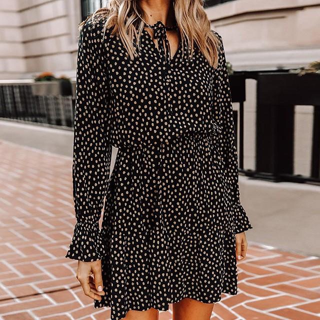 نسائي فستان شكل حرف A فستان ميني أسود كم طويل منقط طباعة الخريف الربيع V رقبة أنيق 2021 S M L XL