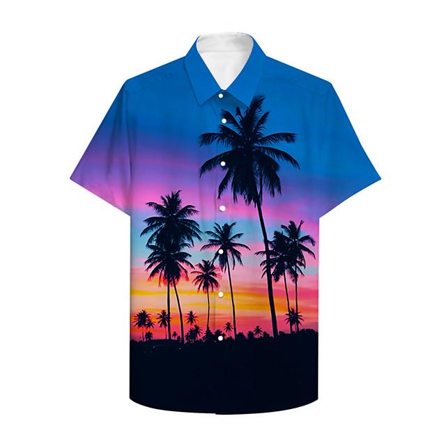 Men's Shirt 3D Print Graphic 3D Button-Down 3D Print Short Sleeve Casual Tops Casual Hawaiian Rainbow