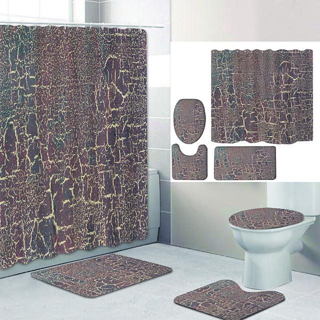 لون عادي سلسلة 6 طباعة رقمية أربع قطع مجموعة ستائر الدش والسنانير آلة البوليستر الحديثة مصنوعة حمام مقاوم للماء