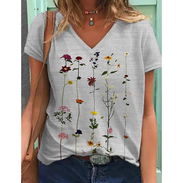 Women's T shirt Graphic Floral Print V Neck Tops Basic Basic Top Blue Khaki Gray