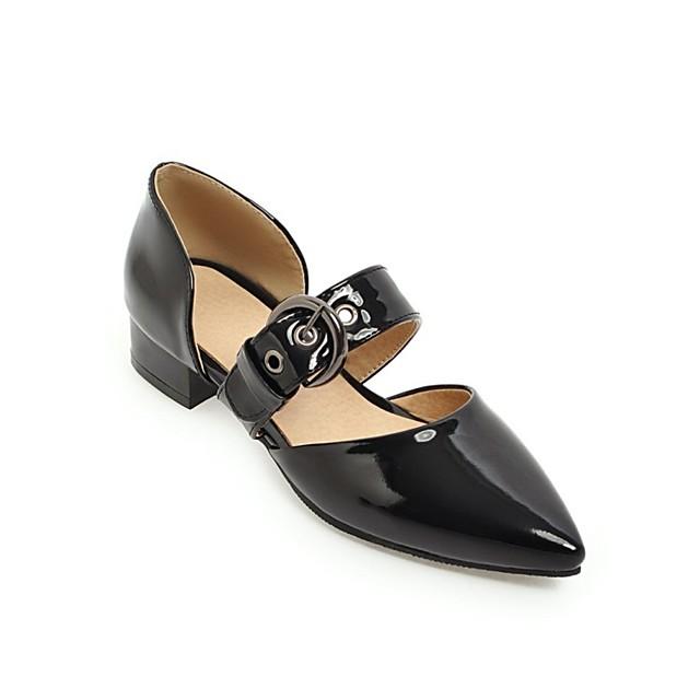 نسائي كعوب كعب متوسط حذاء براس مدبب PU المواد التركيبية أبيض أسود أخضر