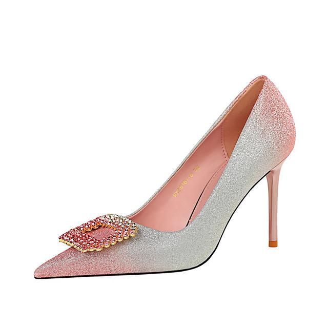 Women's Heels Stiletto Heel Pointed Toe PU Rhinestone Sequin Color Block Black Pink Champagne