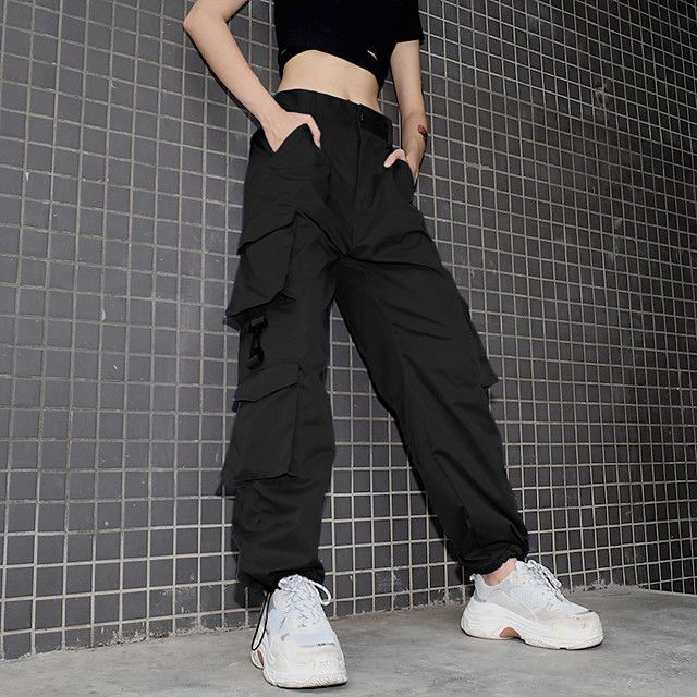 Women's Streetwear Chino Comfort Casual Weekend Tactical Cargo Pants Plain Full Length Pocket Black Red Army Green