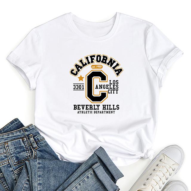 Women's T shirt Graphic Letter Print Round Neck Tops 100% Cotton Basic Basic Top White Black Blue