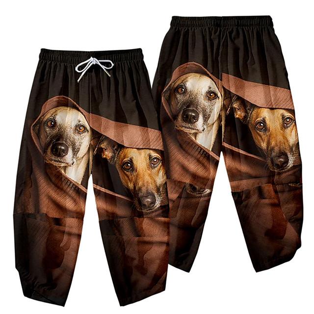 عارضة / رياضي ملابس الرياضة رجالي ساق عريضه مناسب للبس اليومي الرياضة بنطلون مكتمل الطول كلب مرونة الخصر طباعة ثلاثية الأبعاد أسود